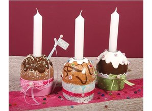 Tante Ema Pappmaché muffin tin with aluminum candle holder