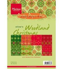 DESIGNER BLÖCKE  / DESIGNER PAPER Elines Woodland jul, PrettyPapers A5, 8 designs 32 ark