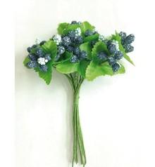 Embellishments / Verzierungen Paper Roses, berries blue.