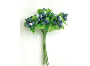 Embellishments / Verzierungen Marianne Design, Paper Roses, berries blue.