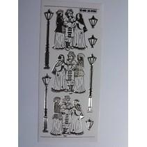 Dekorative mærkat, præget i stor detalje, 10 x 23cm.