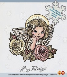 Amy Design Timbro trasparente, Angelo con rose
