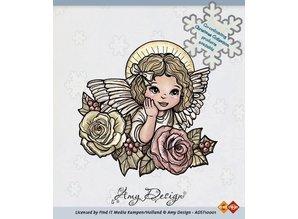 Amy Design Timbro trasparente, Angelo con rose