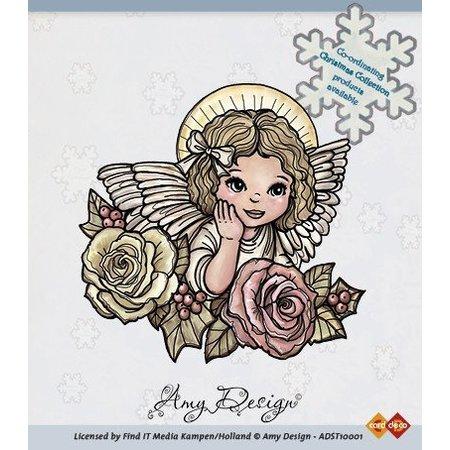 Amy Design Sello transparente, Ángel con rosas