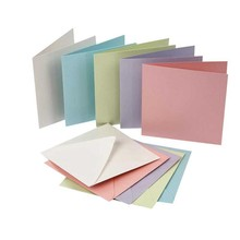 KARTEN und Zubehör / Cards 10er Set, Perlmuttkarten und Umschläge, Kartengröße 12,5x12,5 cm, pastellfarben!