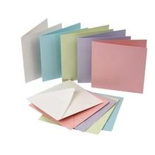 KARTEN und Zubehör / Cards Sæt af 10, perlemor kort og kuverter, kort str. 12,5 x12, 5 cm, pastel farver!