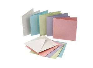 KARTEN und Zubehör / Cards Set of 10, very pretty mother of pearl cards and envelopes, card size 12,5 x12, 5 cm, pastel colors!