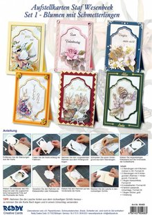 BASTELSETS / CRAFT KITS: Complete Bastelset, NoteCards Staf Wesenbeek, Set 1 flowers with butterflies