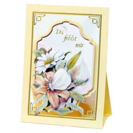 BASTELSETS / CRAFT KITS: Komplet Bastelset, notecards Staf Wesenbeek, Set 1 blomster med sommerfugle