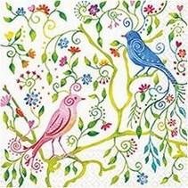 Ontwerper servetten, afmeting 33x33 cm, paradijsvogels, 5 stuks