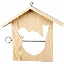 1 alimentador del pájaro, 19x21 cm, Pine