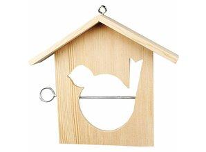 Objekten zum Dekorieren / objects for decorating 1 Vogelfutterhäuschen, 19x21 cm, Kiefernholz, zum bemalen und dekorieren
