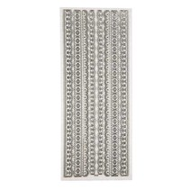 Ziersticker, Glitter Stickers, hoja de 10x24 cm, plata, fronteras, influenciados en gran detalle.