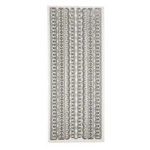 Ziersticker,Glitter-Sticker, Blatt 10x24 cm, silber, Bordüren, sehr detailliert geprägt.