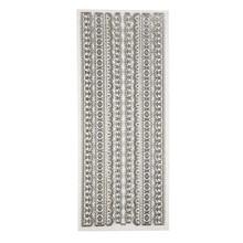 Sticker Ziersticker, Glitter Adesivi, cm 10x24 foglio, d'argento, i confini, influenzato in grande dettaglio.