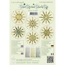 Star sticker stamp set green, 1 transparent Stempel, 3 Stern Sticker, 4xA5 Stempel Papier, 6 Vorlagen und Anleitung