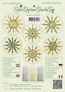 Sticker Star sticker stamp set green, 1 transparent Stempel, 3 Stern Sticker, 4xA5 Stempel Papier, 6 Vorlagen und Anleitung