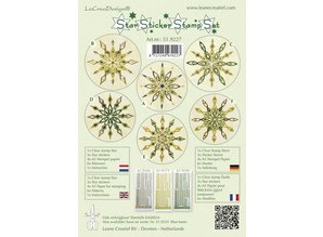 Sticker Star stickers green stamp set, 1 transparent stamp, 3 Star Stickers, 4xA5 stamp paper, 6 templates and instructions