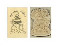 Stempel / Stamp: Holz / Wood Papermania, Anita `s Holze stempel, Fødselsdag ønsker