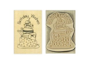 Stempel / Stamp: Holz / Wood Papermania, Anita `s holze stamp, Birthday wishes