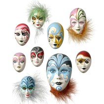 Schimmel: Mini Sieraden Maskers, 4-8cm, zonder versiering, 9 stuks, 130 g materiaal eisen.
