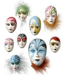 GIESSFORM / MOLDS ACCESOIRES Molde: Máscaras Mini joyería, 4-8cm, sin decoración, 9 piezas, 130 g de necesidades de material.