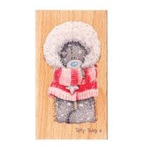 Mig til dig, laset teddy, træ frimærke - Winter Wonderland