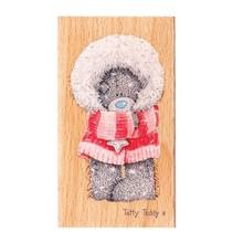 Me to You Mig til dig, laset teddy, træ frimærke - Winter Wonderland