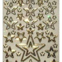 Glitter Ziersticker, 10 x 23cm, sterren, verschillende grootte.