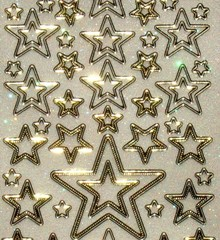 Sticker Glitter decorative embroidery, 10 x 23cm, stars, different size.