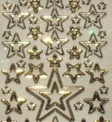 Sticker Ziersticker brillo, 10 x 23 cm, estrellas, tamaño diferente.