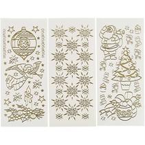 Hobby pegatinas, hoja de 10x23 cm, oro, Navidad, 20 hojas diferentes