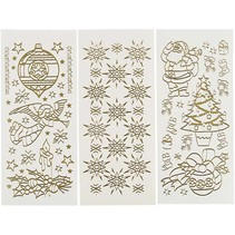 Hobby Stickers, vel 10x23 cm, goud, Kerstmis, 20 verschillende vellen