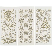 Sticker Hobby Adesivi, foglio 10x23 cm, oro, Natale, 20 diversi fogli