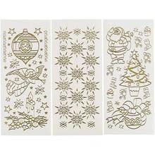 Sticker Hobby Klistermærker, ark 10x23 cm, guld, jul, 20 forskellige ark