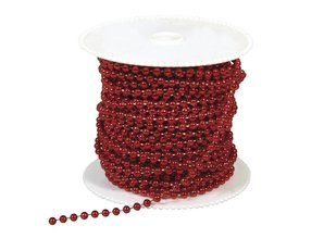 DEKOBAND / RIBBONS / RUBANS ... Great pearls, 4 mm, red, per per meter