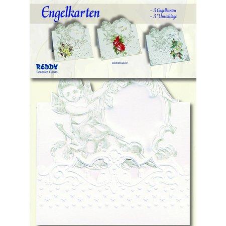 KARTEN und Zubehör / Cards 3 angel cards + 3 envelopes in white