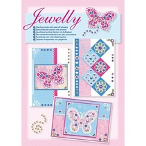 NEW; Bastelset, Jewelly Butterflies set, bright beautiful cards with sticker