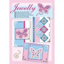 NIEUW; Bastelset, Jewelly Butterflies set, heldere mooie kaarten met sticker