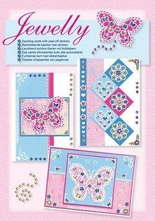 Komplett Sets / Kits NEU; Bastelset, Jewelly Butterflies set, leuchtend schöne karten mit Sticker