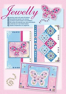 Komplett Sets / Kits NEW; Bastelset, Jewelly Butterflies set, bright beautiful cards with sticker