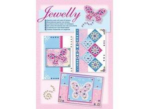 Komplett Sets / Kits Craft Kit, Jewelly Sommerfugle sæt, lyse smukke kort med mærkaten