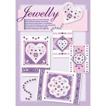 Ny; Bastelset, Jewelly Floral sæt, lyse smukke kort med mærkaten