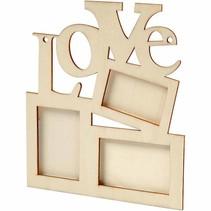 """Collage af 3 træramme og ordet """"LOVE"""""""