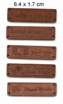 etiquetas con el texto - hecho a mano -, tamaño 6.4 x 1.7 cm