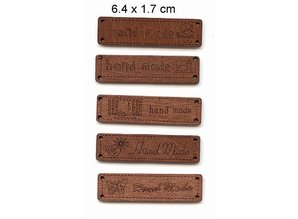 5 different Durchholzen labels with text - Handmade -, size 6.4 x 1.7 cm