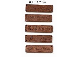 5 forskellige Durchholzen etiketter med tekst - Håndlavet -, størrelse 6,4 x 1,7 cm
