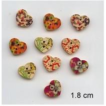 10 agradable, botones del corazón, 1,8 cm