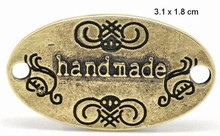 "Embellishments / Verzierungen Nyhed: ""Handmade"" 4 etiketter i metal"