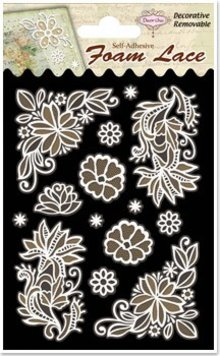 Embellishments / Verzierungen 3D lace flowers and corners, 1 pack